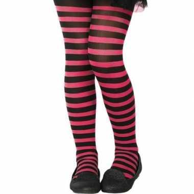 Zwart/roze verkleed panty voor kinderen