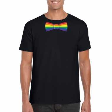 Zwart t shirt met regenboog vlag strikje heren