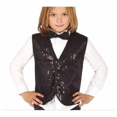 Zwart verkleed gilet met pailletten voor kinderen
