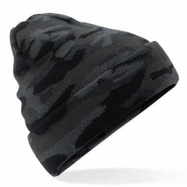 Zwarte camouflage gebreide wintermuts voor volwassenen