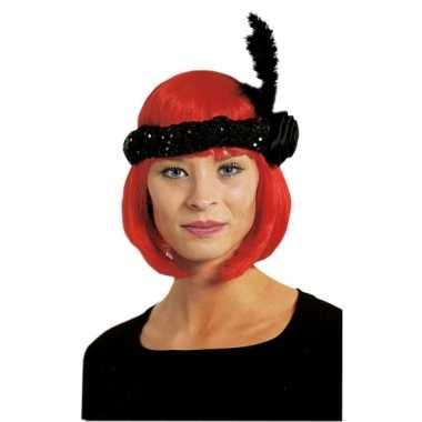 Zwarte flapper haarband