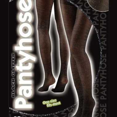 Zwarte glitter panty voor vrouwen