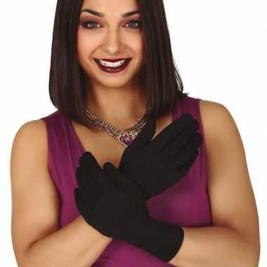 Zwarte korte verkleed handschoenen voor volwassenen