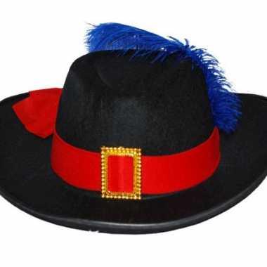 Zwarte musketier hoed met rode band