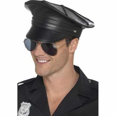 Zwarte politiepet lederlook voor heren