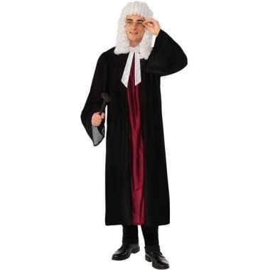 Zwarte/rode rechters toga verkleed kostuum voor dames/heren