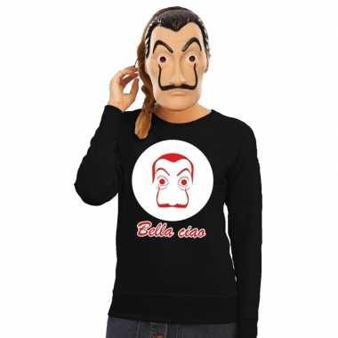 Zwarte salvador dali sweater met la casa de papel masker dames