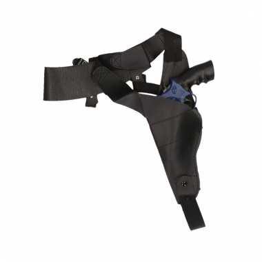 Zwarte schouder holster met nep politie pistool