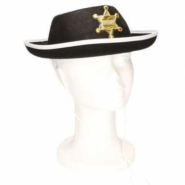 Zwarte sheriff hoed voor kinderen