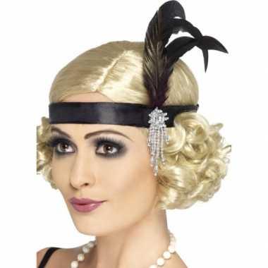 Zwarte showgirl hoofdband met veer verkleedaccessoire voor dames