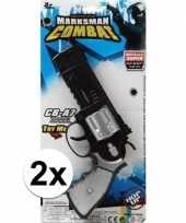 2x stuks politie militair speelgoed pistolen 35 cm