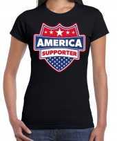 Amerika america schild supporter t-shirt zwart voor dames