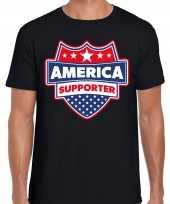Amerika america schild supporter t-shirt zwart voor heren