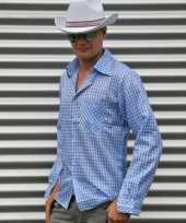 Blauw cowboy overhemd met ruitjes
