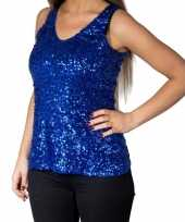 Blauwe glitter pailletten disco topje mouwloos shirt dames