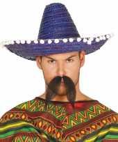 Blauwe sombrero mexicaanse hoed 45 cm voor volwassenen
