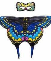 Blauwe zwaluwstaart vlinder verkleedset voor meisjes