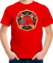Brandweer logo t shirt verkleedkleding rood voor kinderen