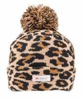 Bruine zwarte panterprint luipaardprint muts voor dames