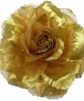 Corsage gouden glitter bloem accessoire 10 cm