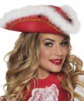 Dansmarietje rode hoed met witte rand