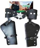 Dubbele sheriff cowboy holsters verkleed accessoire