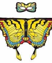 Gele zwaluwstaart vlinder verkleedset voor meisjes