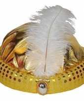 Goud arabisch sultan hoedje met diamant en veer