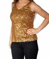 Gouden glitter pailletten disco topje mouwloos shirt dames