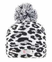 Grijze zwarte panterprint luipaardprint muts voor dames