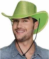 Groene cowboyhoed howdy pailletten voor volwassenen