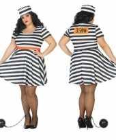 Grote maten gevangene boef bonnie verkleed kostuum voor dames