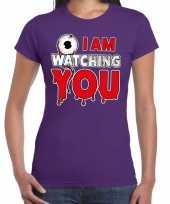 Halloween i am watching you verkleed t-shirt paars voor dames