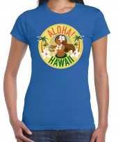 Hawaii feest t-shirt shirt aloha hawaii blauw voor dames