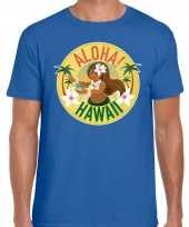 Hawaii feest t-shirt shirt aloha hawaii blauw voor heren