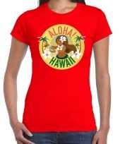 Hawaii feest t-shirt shirt aloha hawaii rood voor dames