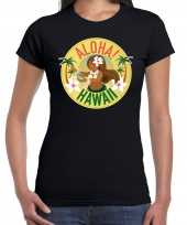 Hawaii feest t-shirt shirt aloha hawaii zwart voor dames