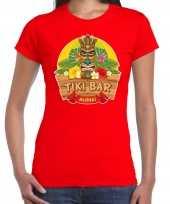 Hawaii feest t-shirt shirt tiki bar aloha rood voor dames