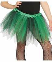 Heksen verkleed petticoat tutu groen zwart glitters voor meisjes