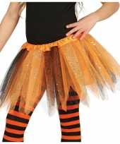 Heksen verkleed petticoat tutu oranje zwart glitters voor meisje