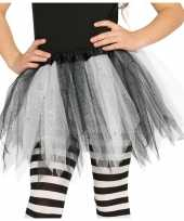 Heksen verkleed petticoat tutu zwart wit glitters voor meisjes