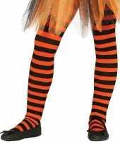 Heksen verkleedaccessoires panty maillot zwart oranje voor meisj