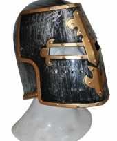 Helm middeleeuws zwart en goud