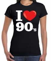 I love 90s nineties t shirt zwart dames