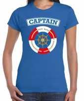 Kapitein captain verkleed t-shirt blauw voor dames