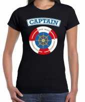Kapitein captain verkleed t-shirt zwart voor dames