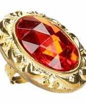 Koning koningin carnaval ring met grote rode diamant