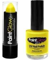 Neon gele uv lippenstift lipstick en nagellak schmink set