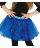 Petticoat tutu verkleed rokje kobalt blauw glitters voor meisje