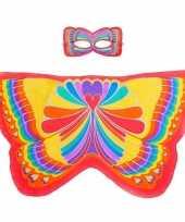 Rode regenboogvlinder verkleedset voor meisjes